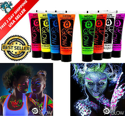 Neon Glow In The Dark Face And Body Paint Party 8pcs UV Reactive Premium Quality
