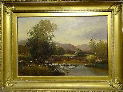 MAGNIFICENT HUGE 19thc COUNTRY LANDSCAPE OIL ON CANVAS PAINTING SIGNED 'Bates'