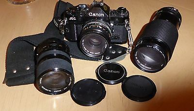 CANON A-1 35MM FILM CAMERA BUNDLE - BODY, 2 LENSES Macro ZOOM 70-210 MM