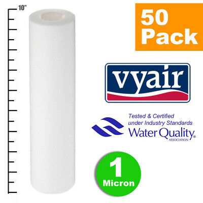 """VYAIR 10"""" PP 1 Micron Particle, Sediment, Reverse Osmosis Water Filter x 50"""