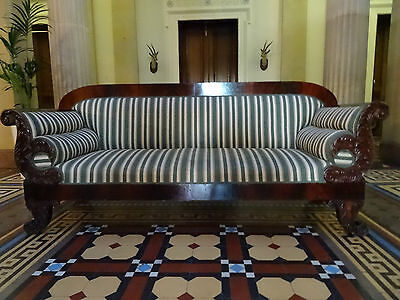 V.LARGE SHABBY CHIC 19th CENTURY REGENCY FLAME MAHOGANY SCROLL END SETTEE SOFA