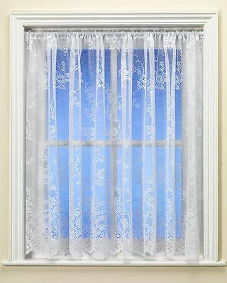 Best Selling Clumber Floral Trail White Net Curtain Premium Quality By The Metre