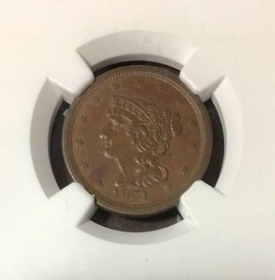 1851 Braided Hair Half Cent NGC AU58 BN***Rev. Tye's Stache*** #1159193