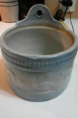 "Antique Blue & White Pottery Stoneware Salt Crock ""peacock"""