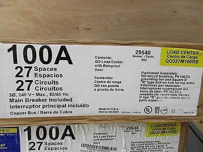 Square D QO327M100RB 100 Amp 3 Phase 27 Circuit Outdoor Main Breaker Load Center