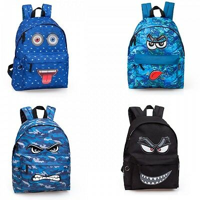 Boys Mens Backpack Rucksack Travel School Work Bag Work Smiley FUNNY FACES