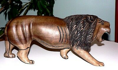 Solid Wood Carved Lion Statue Figure