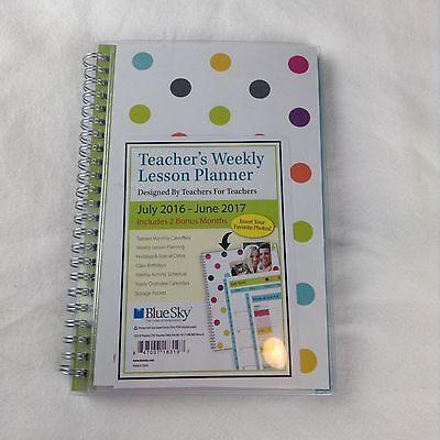 Blue Sky Teacher Dots Clear Cover Planner Academic - Weekly Monthly - 2016-2017