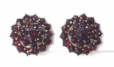 Antique Victorian 12K Gold-Filled Garnet Cluster Screw-Back Earrings