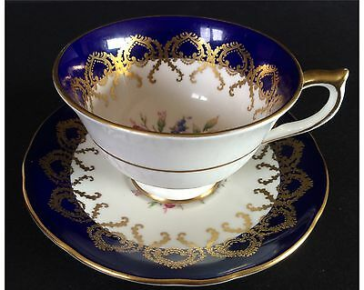 Aynsley Cobalt Blue And Gold Filigree With Pink Cabbage Rose Cup and Saucer