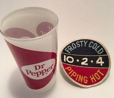 Dr Pepper Vintage Drinking Glass Frosty Cold 10-2-4 Piping Hot Soda Pop Patch