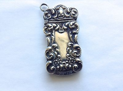 Antique Sterling Silver Repousse Scroll Pattern Match Safe Vesta No Monogram