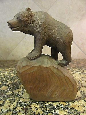 Vintage V. Nieminen Hand Carved Wood Bear Cub Figure - FINLAND SCANDINAVIAN