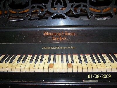 1858 Stinway Grand Piano, antique  with elbony or black walnut wood, fair cond