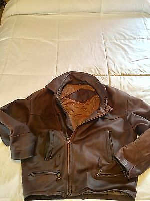 Men's Xl Size 50 Brown Leather Vintage Motorcycle Jacket By Trapper