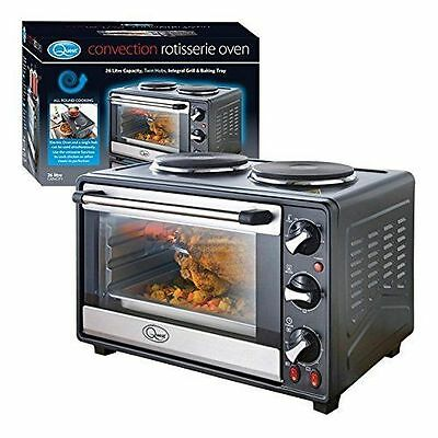 Quest Convection Rotisserie Oven with Integral Grill/Baking Tray, Black
