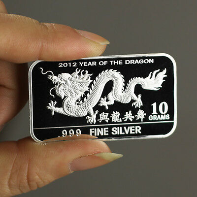 "10 grams .999 Fine Silver Bullion Bar, ""Year of the Dragon, 2012"" design!,  NEW!"