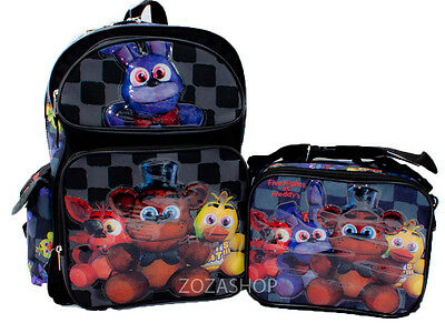 "Five Nights at Freddy's 16"" Large Backpack & Lunch bag 2 pcs Combo Boys Bag NEW"