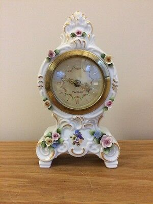 Vintage Dresden China Germany Mercedes Small Clock