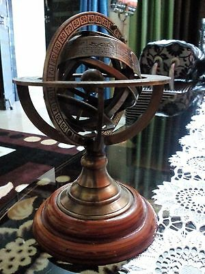 Vintage Solid Brass Armillary Wooden Base Nautical Antique Desk Armillary Gift