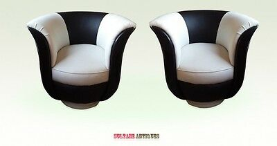 BEST Art Deco style black and ivory leather armchairs