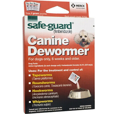 Panacur C Canine Dewormer Dogs 1 Gram Each Packet Treats 10 lbs (3 Packets)