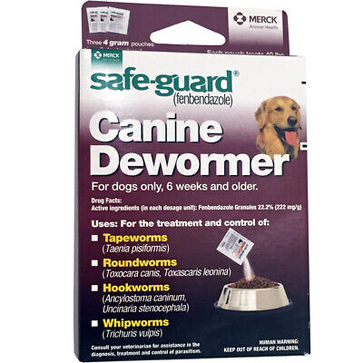 Safe Guard Fenbendazole Canine Dewormer Dogs 4 Gram (3 Packets)