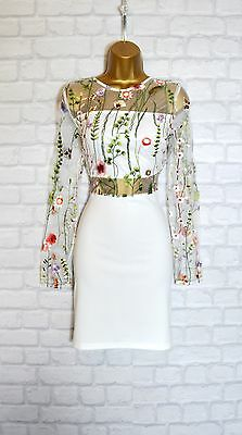 ~MEGHAN~ White Floral Mesh Embroidered Bodycon Evening Party Dress 8 10 12 14