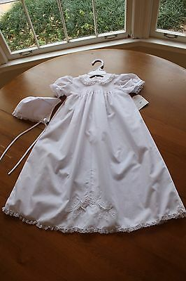 Royal Child Hand Stitched 3-6 M White Cotton Christening Gown & Bonnet Baptism