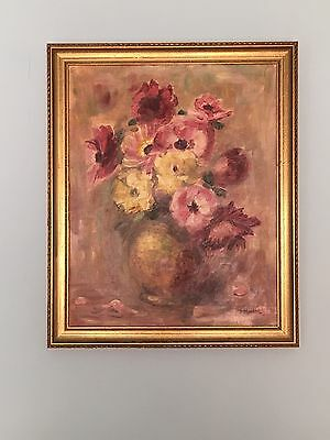 Large Antique Oil Painting Of Flowers