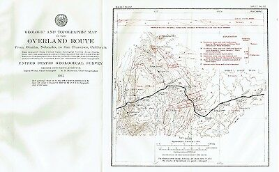 1915 Geologic Topographic Color Railroad Map Hillside to Rock Springs Wyoming
