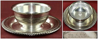 Vintage Silverplate WM A. ROGERS ONEIDA Sauce Gravy Dip Bowl Boat Attached Tray