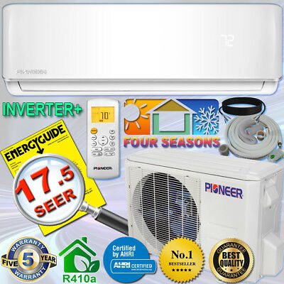 PIONEER 12000 BTU 17 SEER DC Inverter+ Ductless Mini Split Heat Pump System 230V