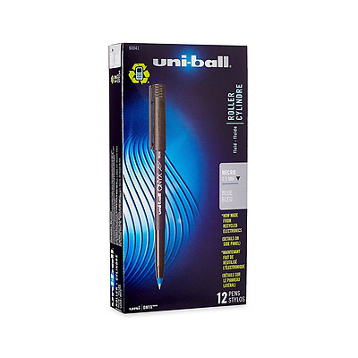 uni-ball ONYX Rollerball Pen, Micro Point (0.5mm), Blue, 12 Count