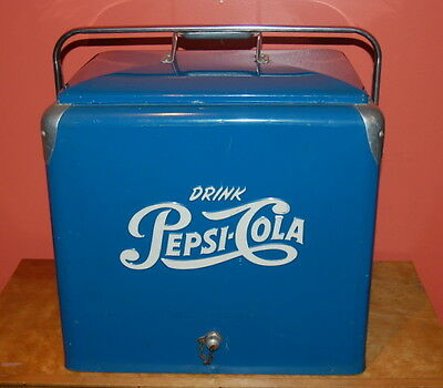 Vintage PEPSI COLA COOLER Original Progress Co. RETRO Picnic Ice Chest POP Soda