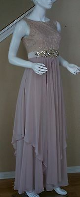 Mother Of The Bride Groom Taupe Wedding Prom Formal Lace chiffon gown size 8