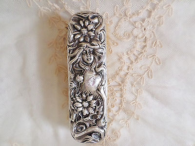 Antique Sterling Silver Art Nouveau Clothes Brush Figural Lady With Foliage