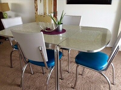 1950's Vintage Gray Formica Drop Leaf Table and 4 Chairs