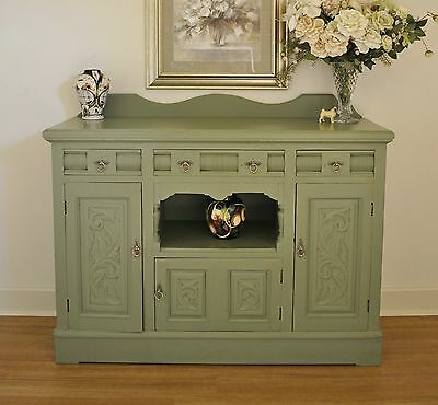 Antique Edwardian Painted Carved Kauri Pine Sideboard Buffet Cabinet TV Stand