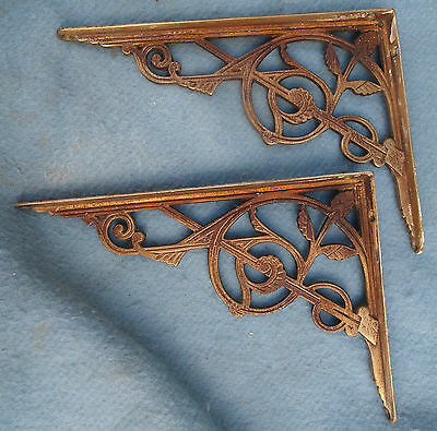 Pair Shelf Brackets. Brass. Victorian.