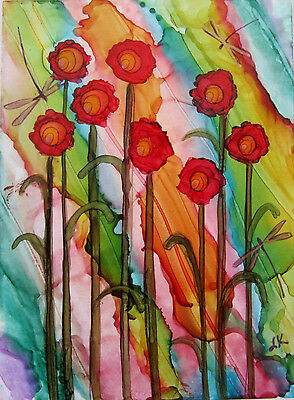 ACEO Original painting tall red flowers gold dragonflies by L Kohler