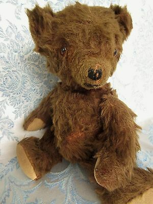 "Old Antique Mohair Teddy Bear 12"" Stuffed Jointed Glass Eyes"