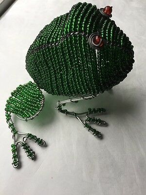 Glass Beads Beaded Intricate Beading Wire Sculpture Frog Toad Used