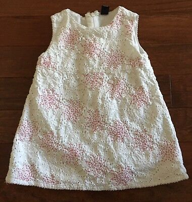Baby gap Toddler Girl Dress White Pink Embroidered Flowers 12-18 Months