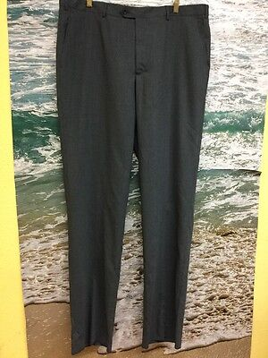 Pazoni Men's Flat Front Wool Trousers Color Grey Sz 40 #712F