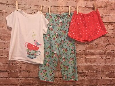 Carters Girls Size 5t 3 Piece Pajama Set, Short Sleeve Top, Pants, & Shorts