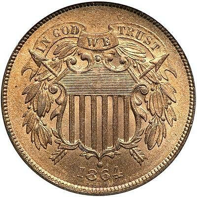 1864 Two Cent, Large Motto. PCGS MS65 Red - GORGEOUS - EYE APPEAL