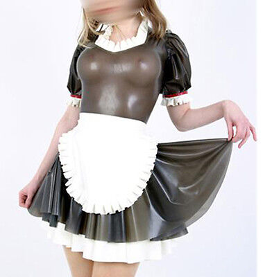 Sexy Maid Latex Dress Women Lolita Fetish Transparent Black Rubber Costumes