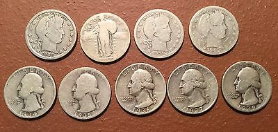 LOT of 9 PRE-WWII QUARTERS: BARBERS, STANDING LIBERTY, WASHINGTONS - 90% SILVER