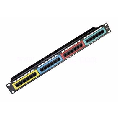 Astrotek CAT6 Patch Panel 24 Port PCB Type IDC w/ Color Frame in Front Cable 3U